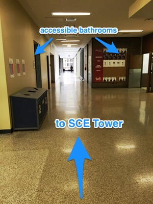 Passageway to SCE Tower and accessible bathrooms