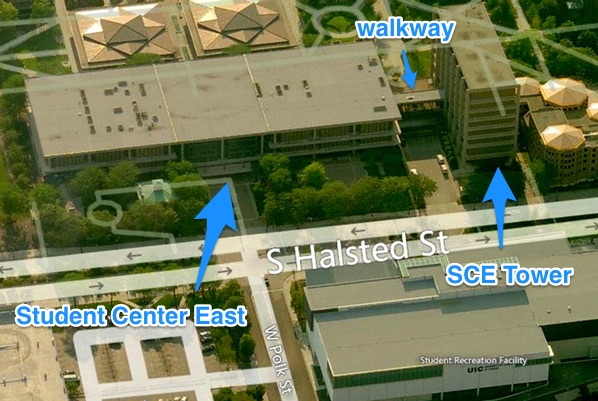 Aerial view of Student Center East and SCE Tower